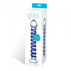 Glas 藍色螺旋玻璃自慰棒