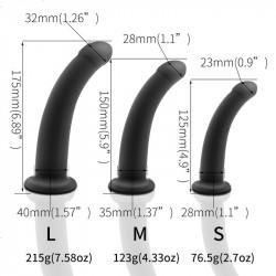 吸盤彷真陽具 - 黑色 3種尺寸